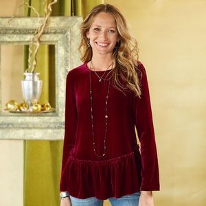 Sundance Red Velvet Long Sleeve Top Ruffle Bottom